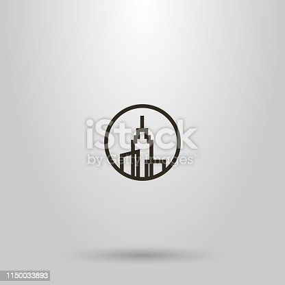 black and white simple vector line art sign of three high-rise buildings with a spire on the roof in a round frame