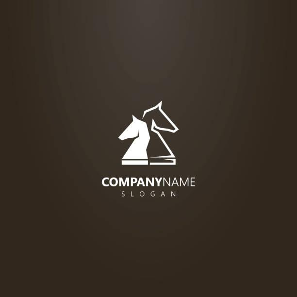 bildbanksillustrationer, clip art samt tecknat material och ikoner med enkla vektor logotypen för två schack riddare bitar - häst tävling