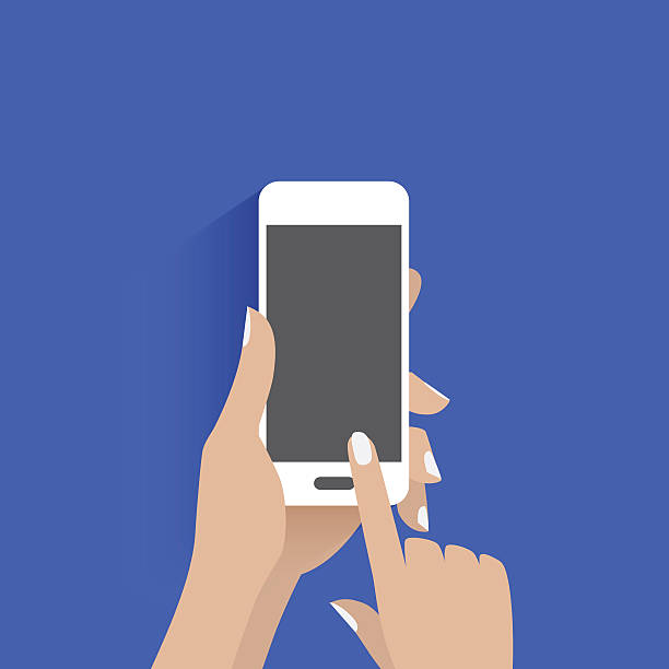 simple vector of using smart phone. - hand holding phone stock illustrations