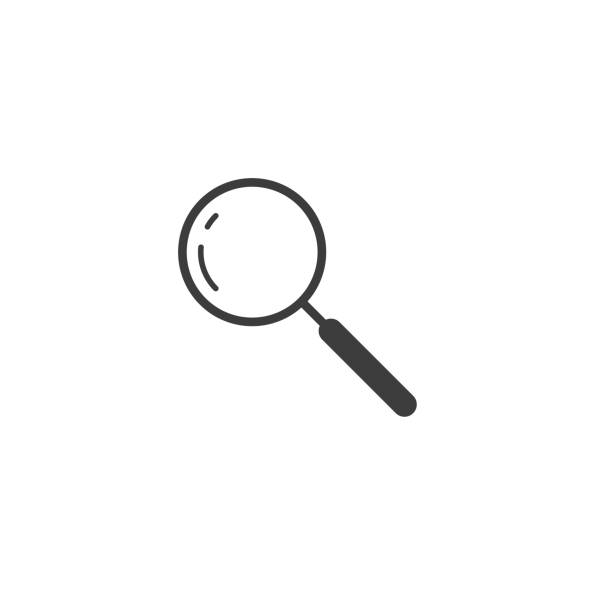 simple vector outline line art icon of search magnifier - lupa sprzęt optyczny stock illustrations