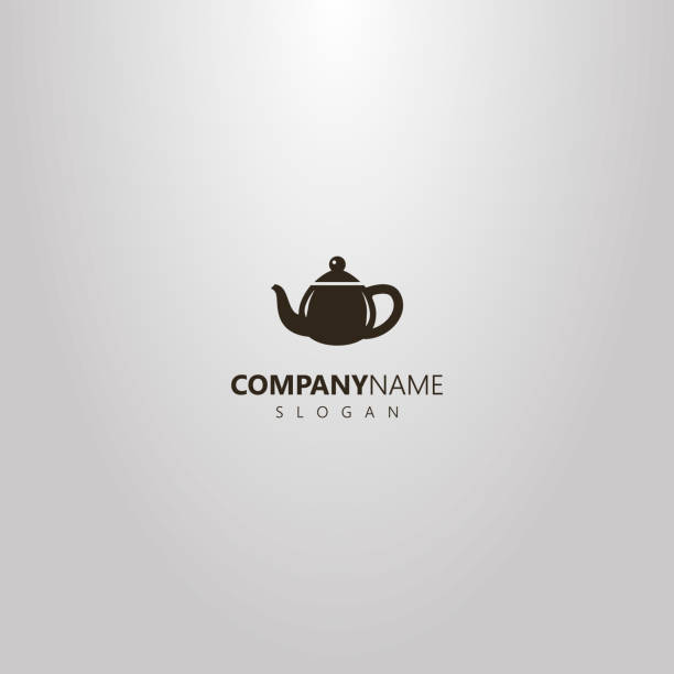 simple vector outline logo of flat art teapot with handle black and white simple vector outline logo of flat art teapot with handle tea room stock illustrations