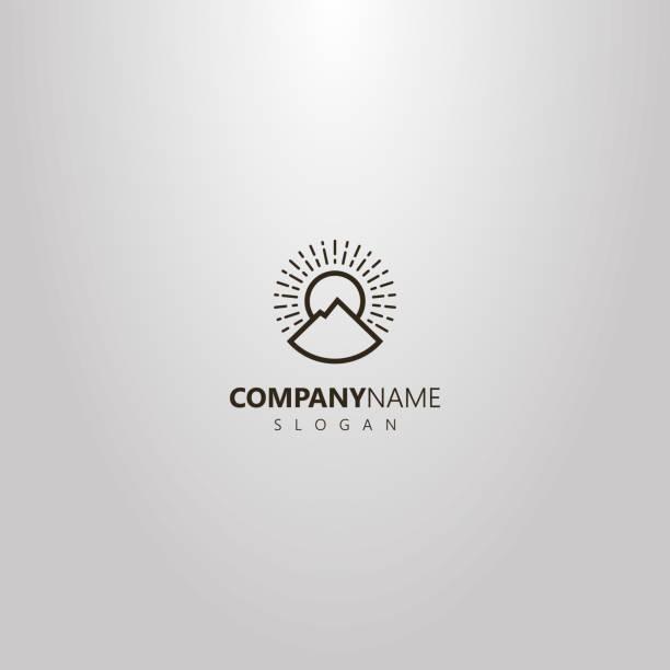 simple vector outline round logo of line art mountain landscape and sun rays - szczyt górski stock illustrations