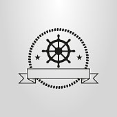 black and white simple vector pictogram of the steering wheel in a circle of rope frame