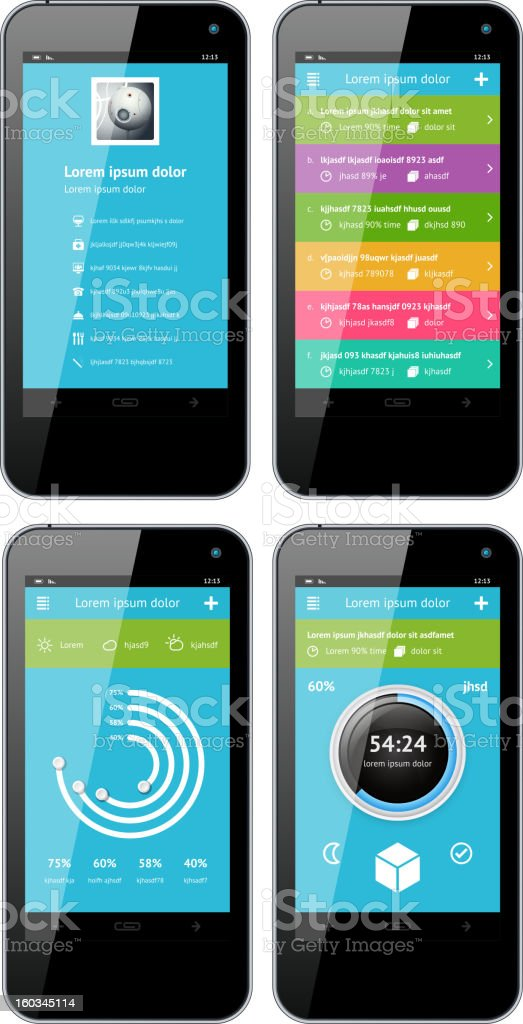 Simple vector template interface for phone royalty-free stock vector art