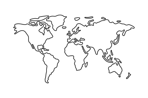 Simple vector world map line icon.