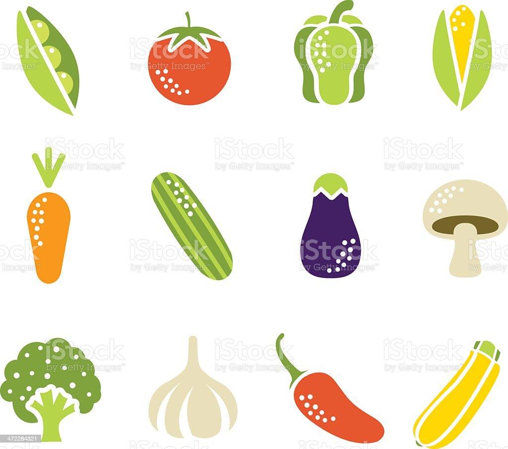Simple Vegetable Icons vector art illustration