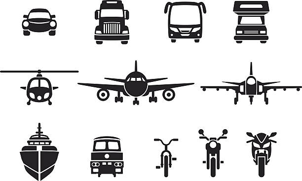 simple vehicle frontview icons Simple vehicle icons in frontviews including a car, bus, truck, helicopter, plane, jet, ship, camper, ship, train, bicycle and a motocycle. front view stock illustrations