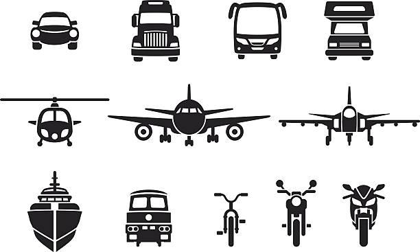 간단한 차량 frontview 아이콘 - 기차 실루엣 stock illustrations