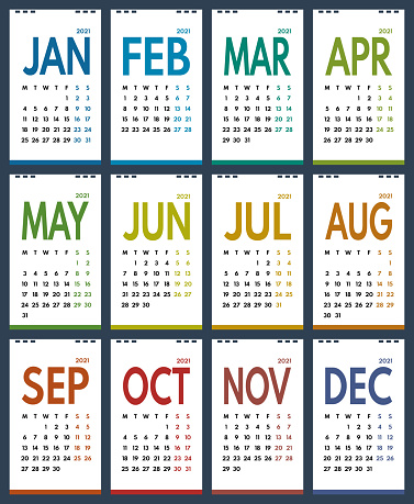 2021 simple vertical vector 12 colorful months calendar, starts monday, two weekend, white background