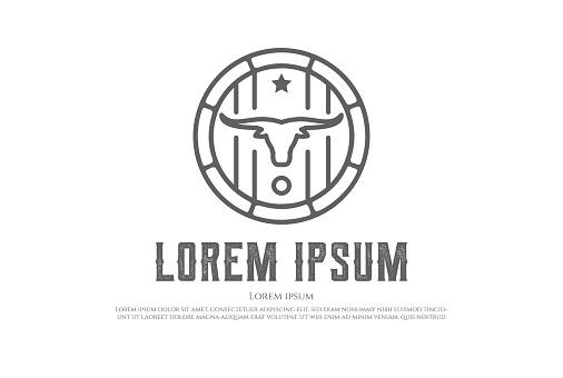 Simple Vintage Bull Bison Longhorn with Beer Barrel Logo Design Vector