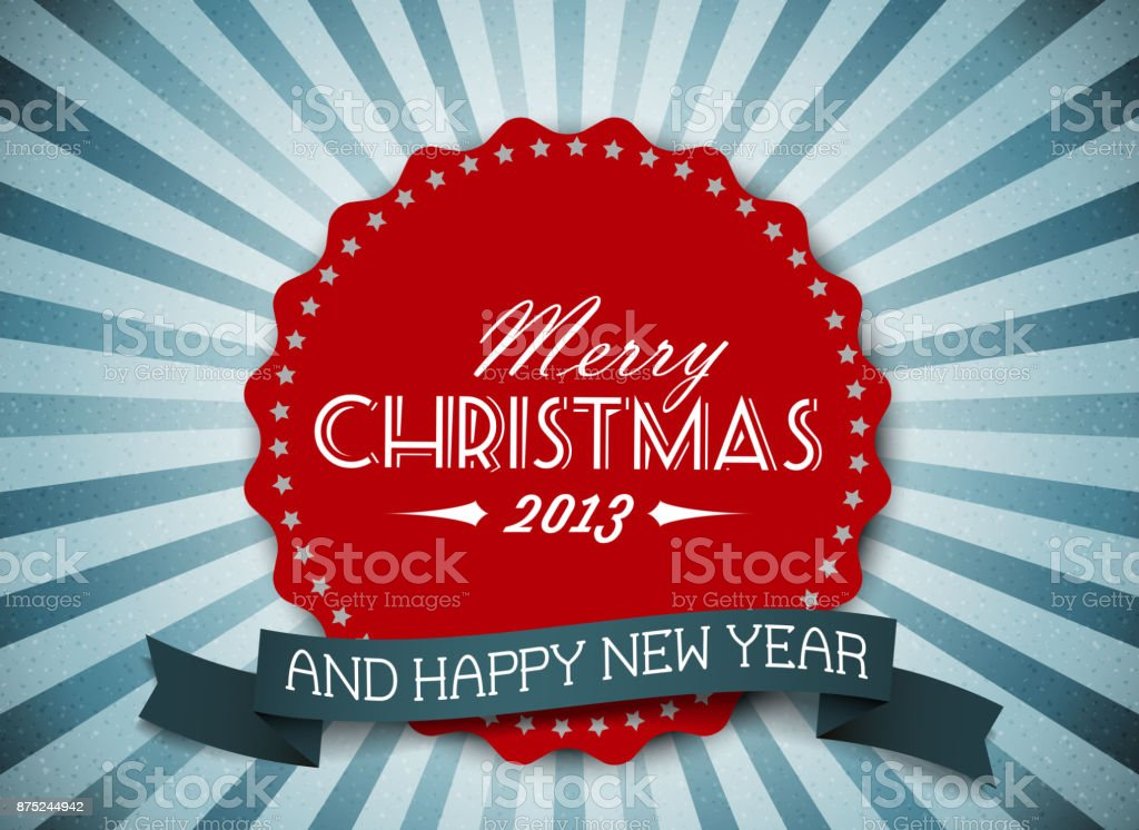 Simple vintage retro vector Christmas card vector art illustration