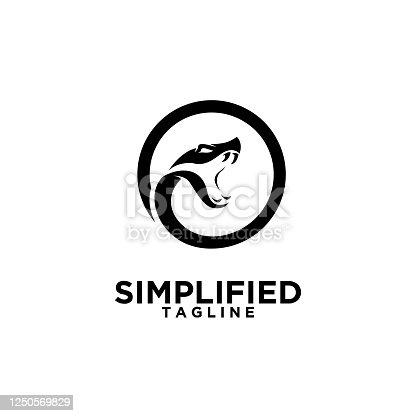 simple viper snake head black isolated icon design white background