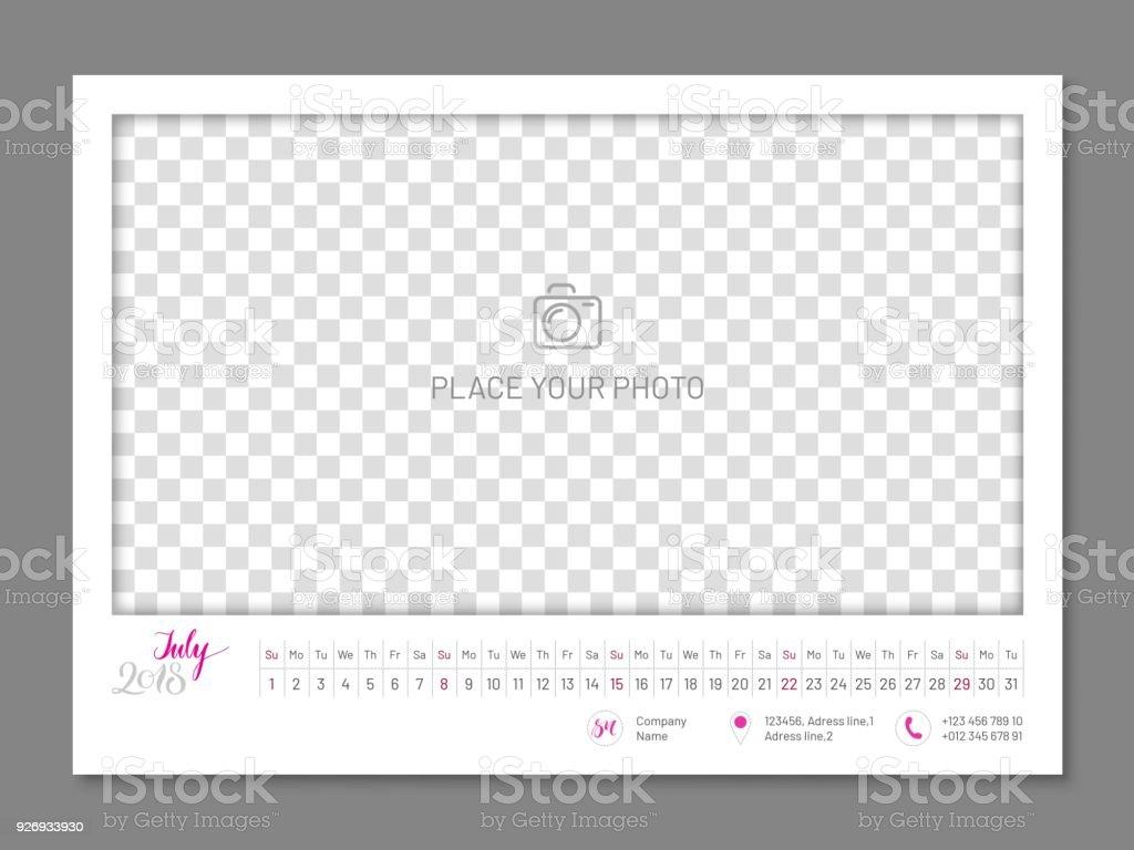 シンプルな壁掛けカレンダー 2018年 7 月年フラット分離 2018年の