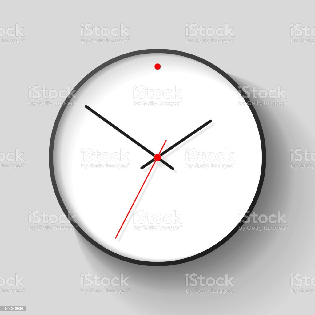 Simple Wall Clock In Realistic Style Minimalistic Timer On Light