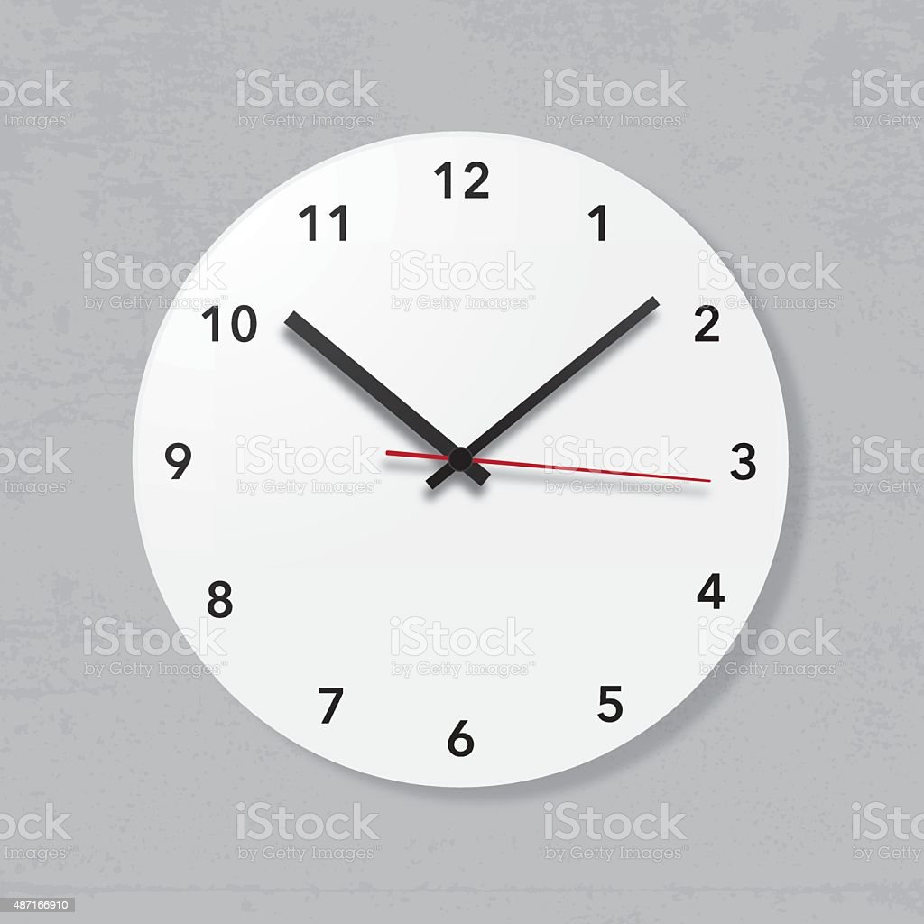 Simple wall clock on grunge wall vector art illustration