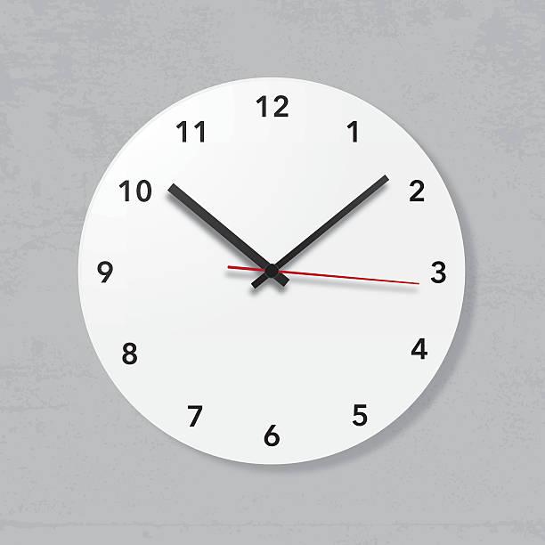 Simple wall clock on grunge wall vector art illustration
