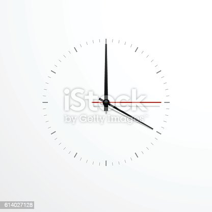 White Clock Design isolated on white background. Ready for your design. Clock Icon. Time is Ticking Concept. Vector EPS10.