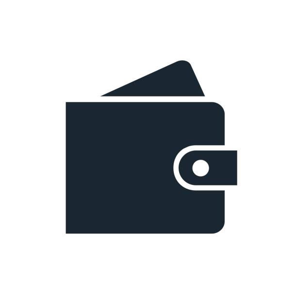 ilustrações, clipart, desenhos animados e ícones de carteira simples com um ícone de cartão. elemento de design única cor isolado no branco. negócios, finanças, pagamento, poupança, conceito de cartão de crédito. - carteira