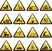 Collection of simple warning & cautionary hazard signs.