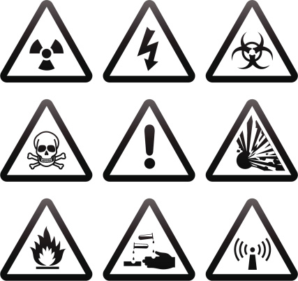 Collection of standard Warning Signs.