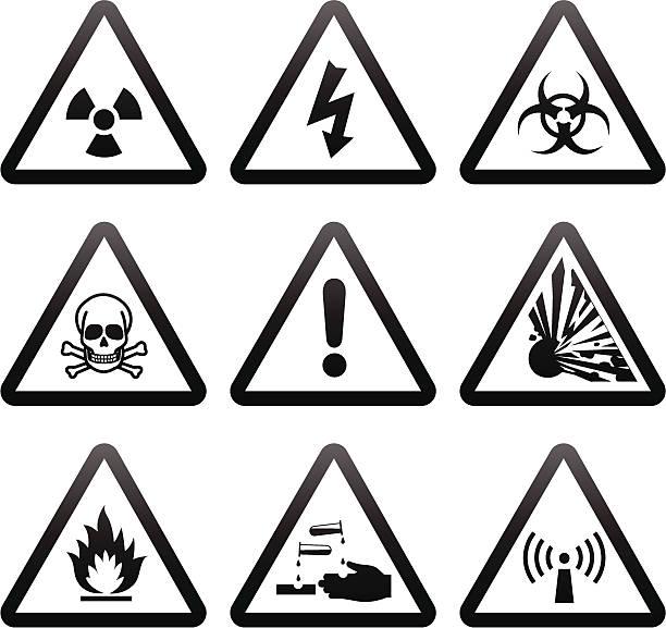 ilustrações de stock, clip art, desenhos animados e ícones de simples de sinais de aviso - inflamável