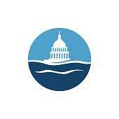 Simple Water and Capitol building vector logo design