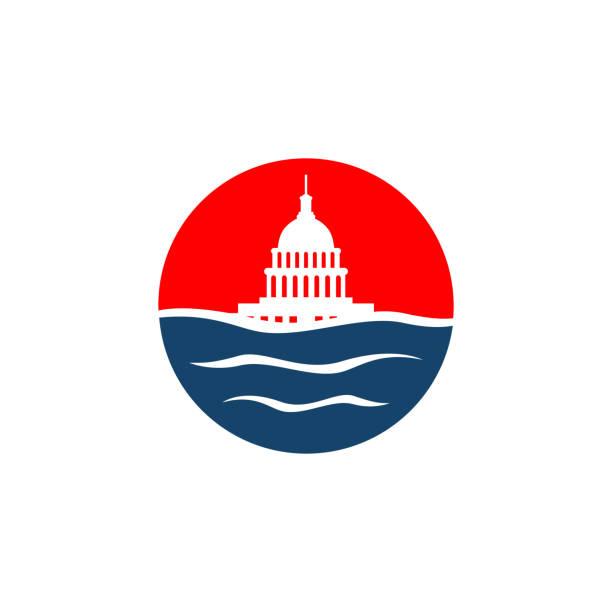 ilustrações, clipart, desenhos animados e ícones de projeto simples do logotipo do vetor do edifício da água e do capitólio - capitel