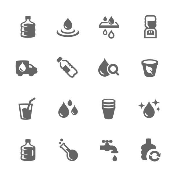 proste ikony wody - tap water stock illustrations