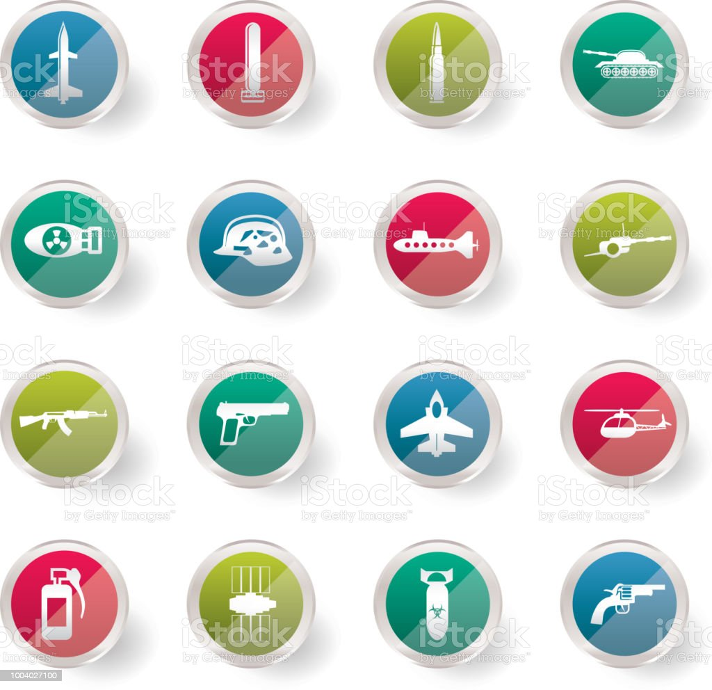 Simple weapon, arms and war icons over colored background vector art illustration