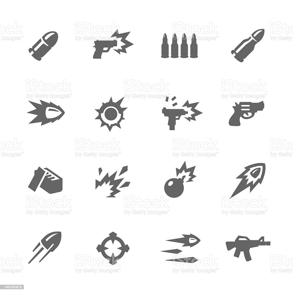 Simple Weapon Icons vector art illustration