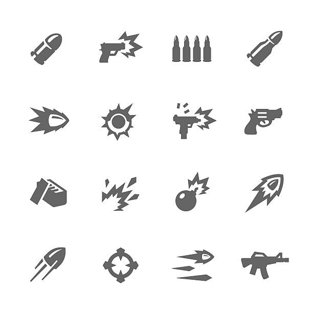 stockillustraties, clipart, cartoons en iconen met simple weapon icons - gun shooting