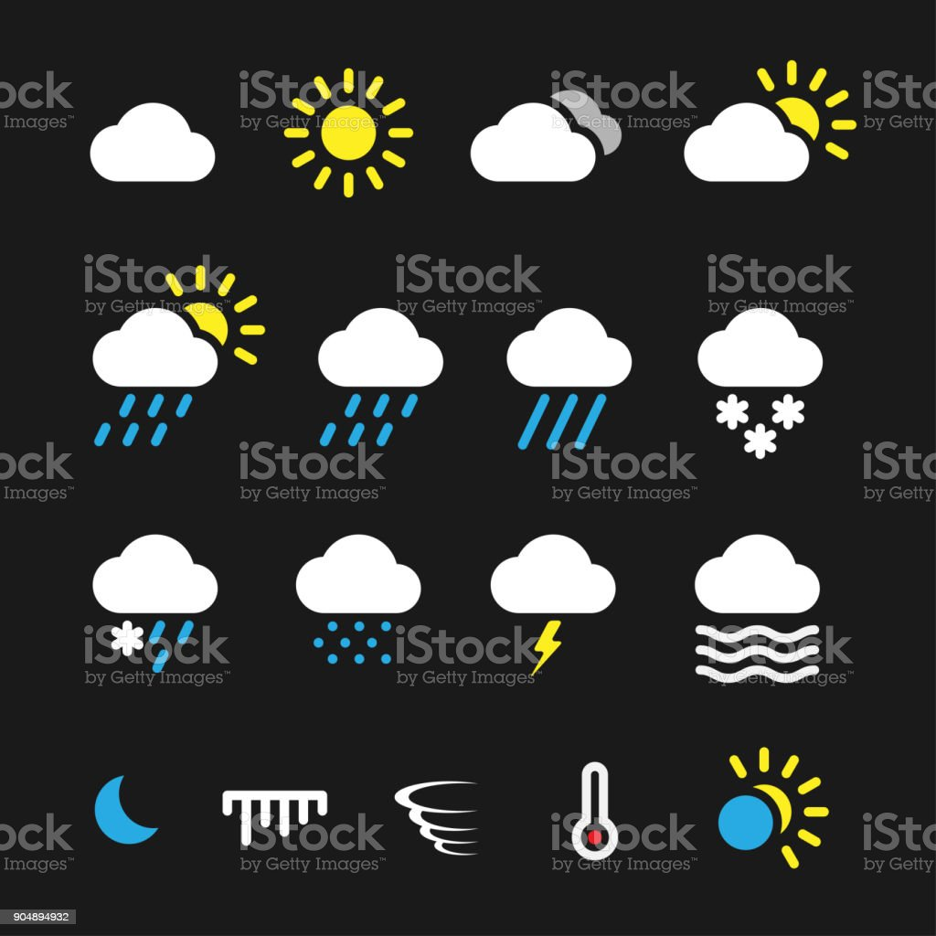 Simple weather icons vector art illustration