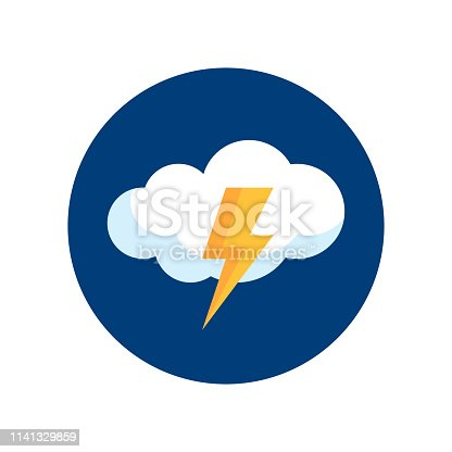 Simple round thunderstorm icon in flat style. Vector meteo pictogram of a raining weather.