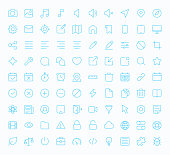 Simple web and mobile phone icons in blue