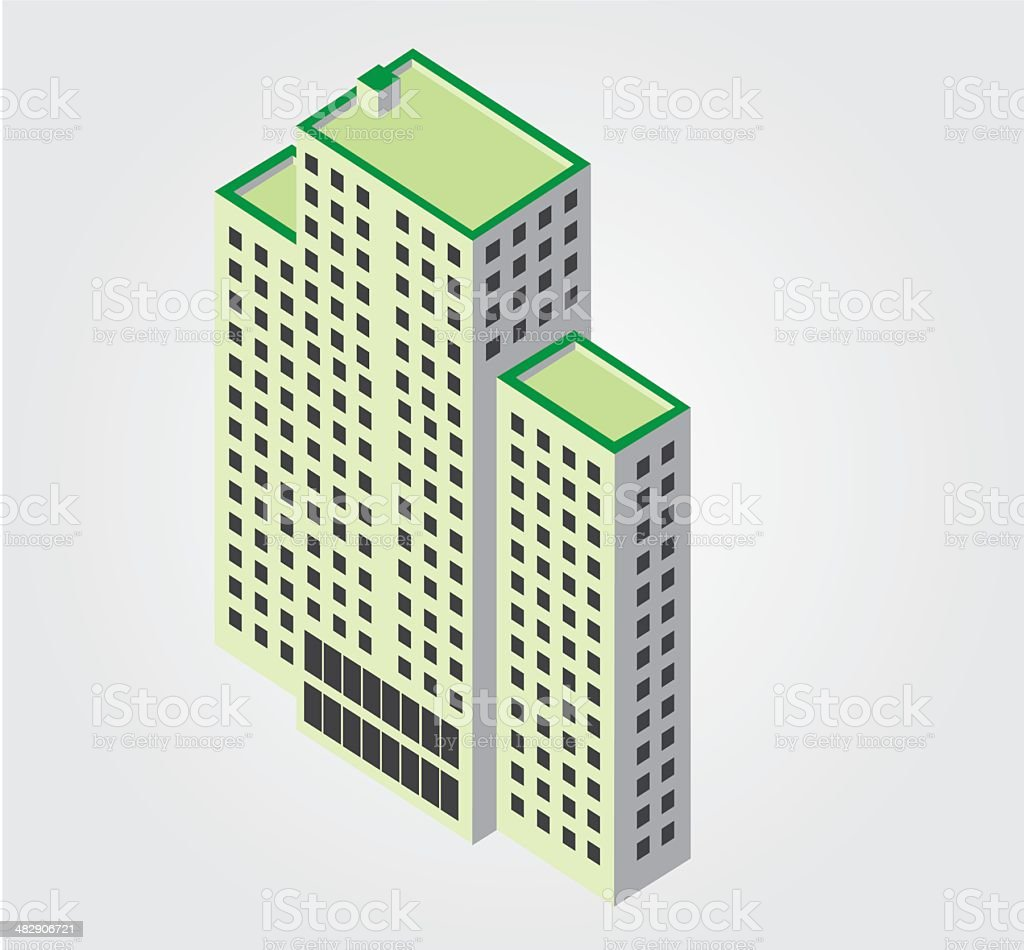 Simple Web Icon In Vector: Isometric City Building Royalty Free Simple Web  Icon In