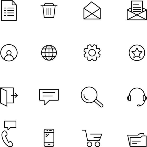 간단한 웹 아이콘 - 세로 구도 stock illustrations