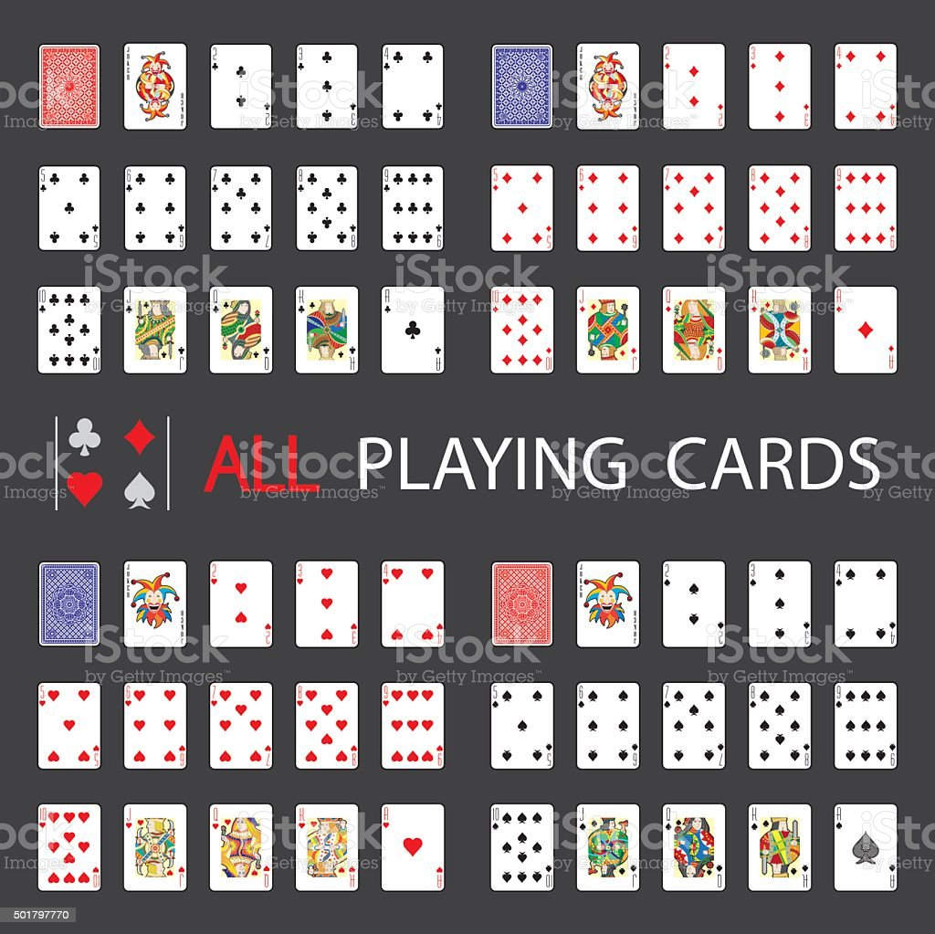 Simple Web Set: All Playing Cards vector art illustration