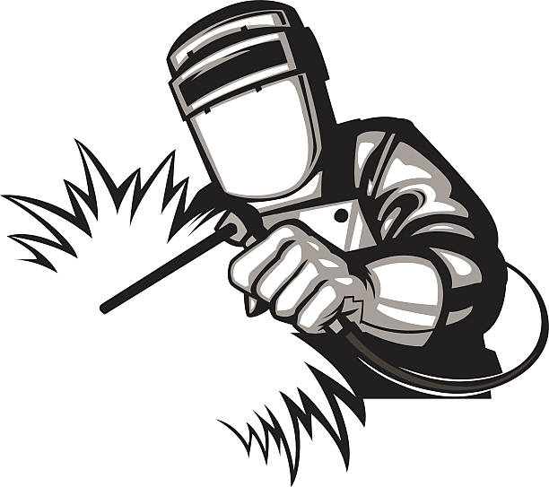 simple welder graphic vector art illustration