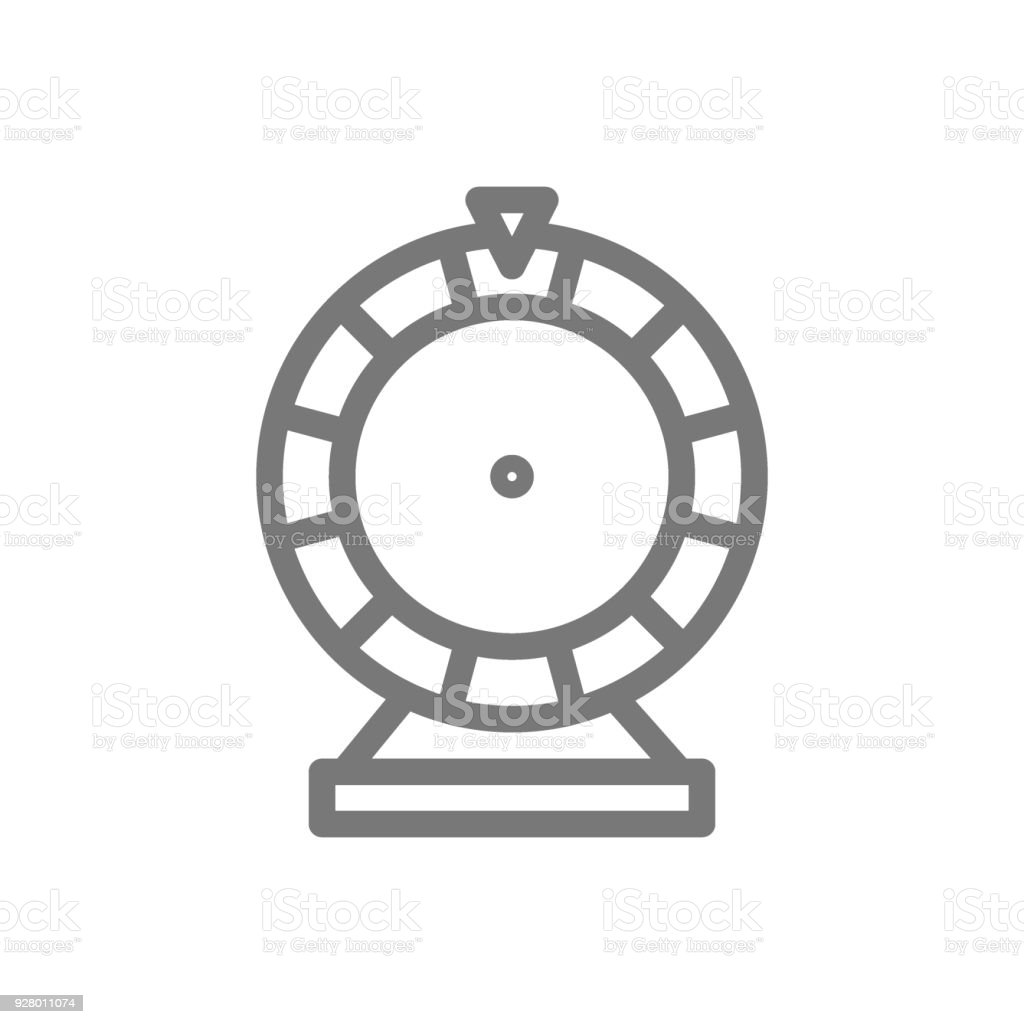 Simple Wheel Of Fortune Line Icon Symbol And Sign Vector