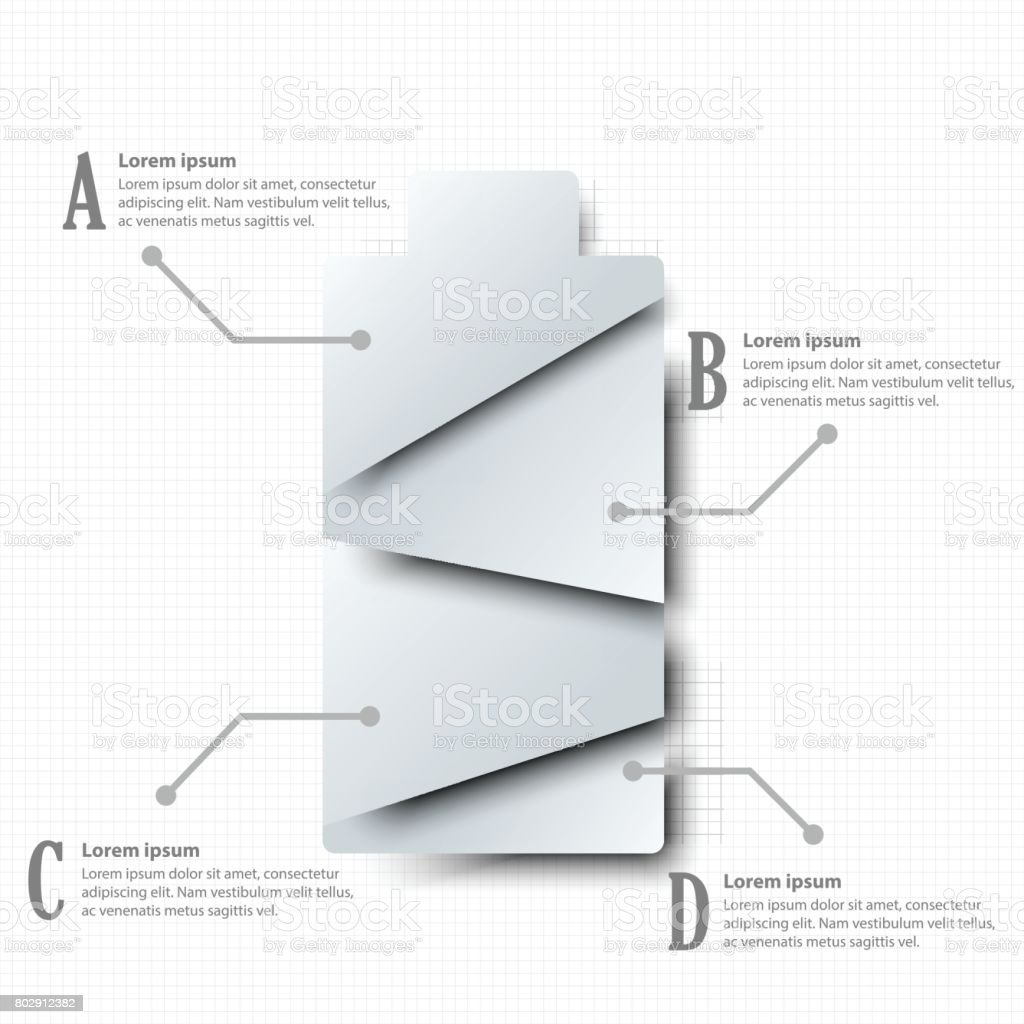simple white d paper battery four topics for website simple white 3d paper battery four topics for website presentation cover poster vector design infographic