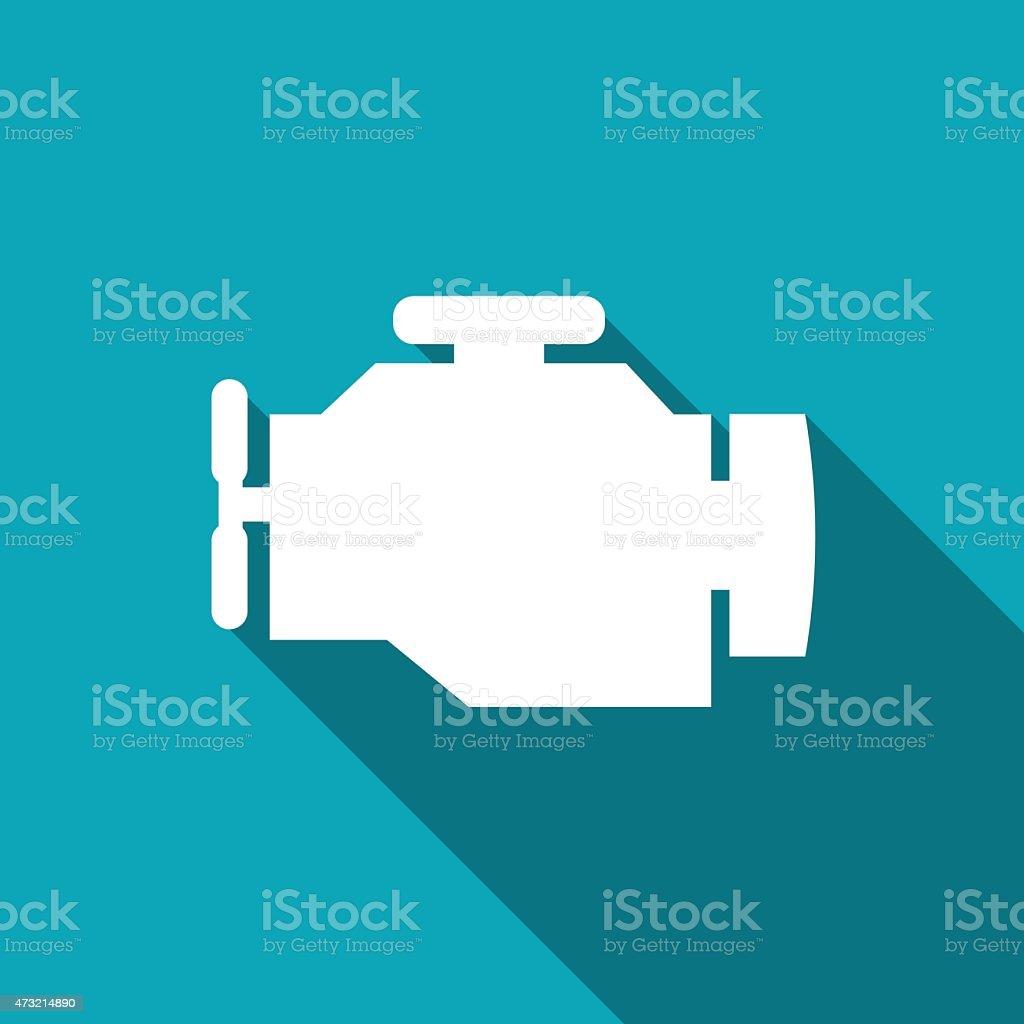 Simple white engine logo on aqua vector art illustration