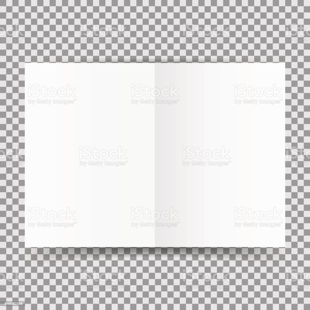 simple white open card template isolated on transparent