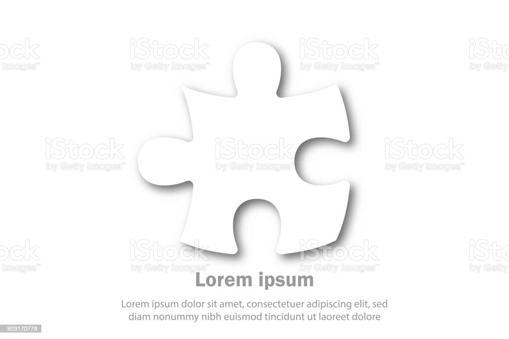 Simple White Paper Cut Of Jigsaw Puzzle Icon For Business Idea