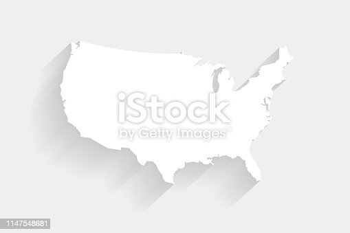 Simple white United States map on gray background, vector, illustration, eps 10 file