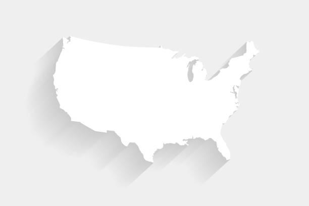 간단한 화이트 미국 지도 회색 배경, 벡터, 삽화, eps 10 파일 - 미국 stock illustrations