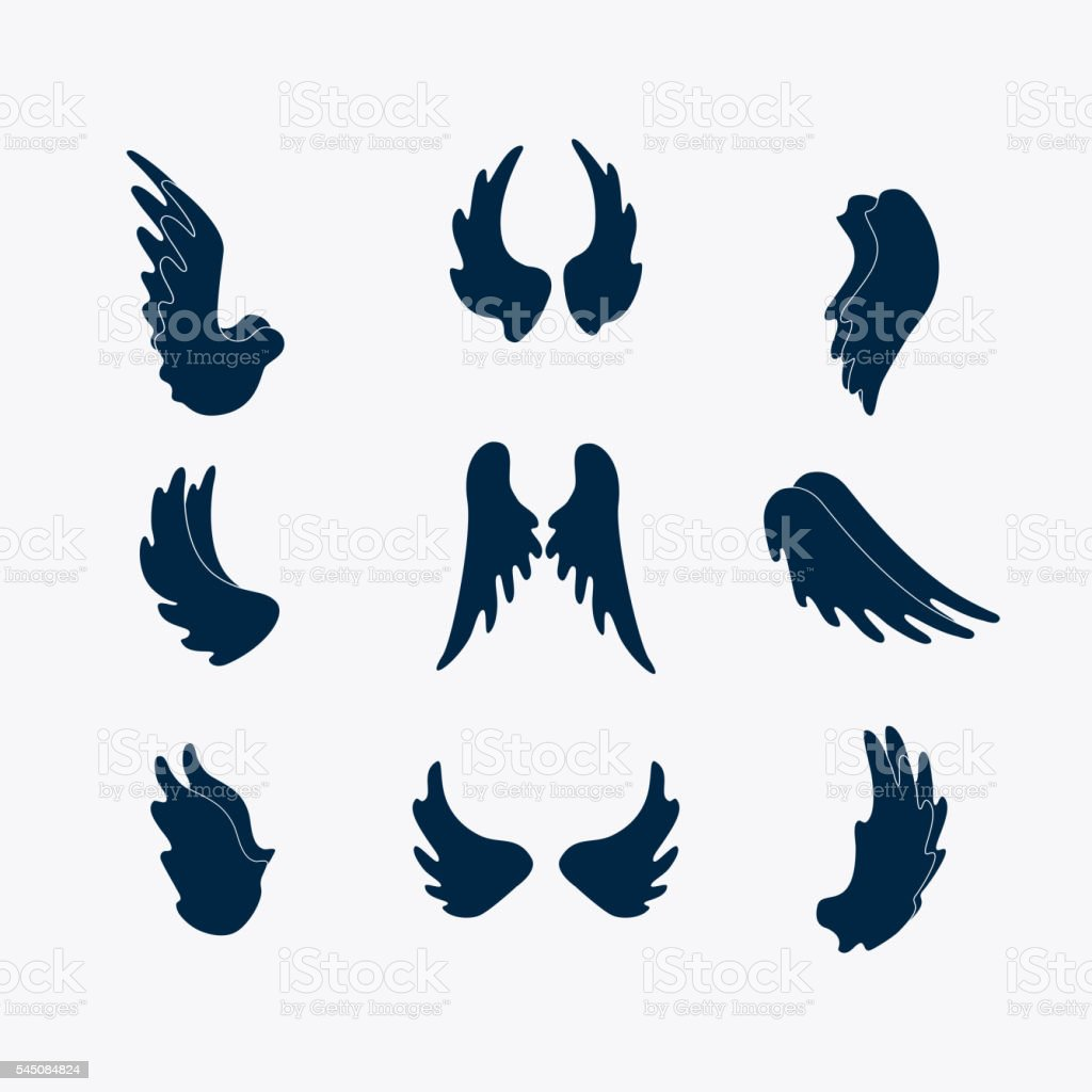 Simple wings silhouettes ベクターアートイラスト