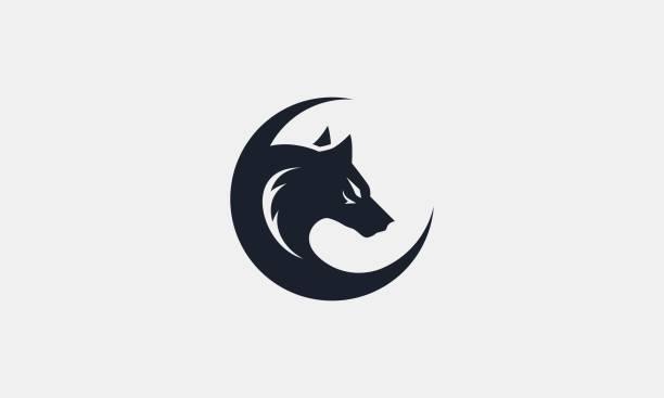 bildbanksillustrationer, clip art samt tecknat material och ikoner med enkel varg och måne silhouette brand identity vector illustration - varg