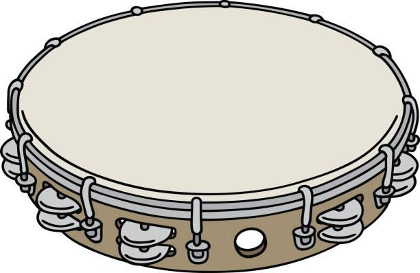 ilustrações, clipart, desenhos animados e ícones de pandeiro de madeira simples - pandeiro