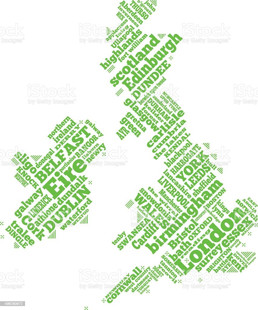 UK simple word map illustration vector art illustration