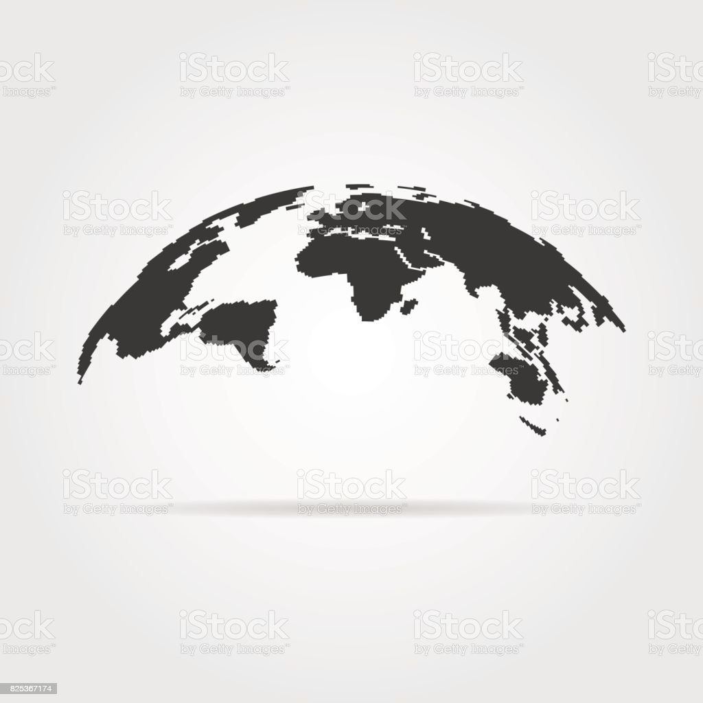 simple world map icon with shadow vector art illustration